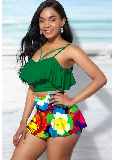Women'S Green Flower Printed High Waisted Bikini Swimsuit Ruffle Hem Two Piece Strappy Padded Wire Free Bathing Suit By Rosewe - 18