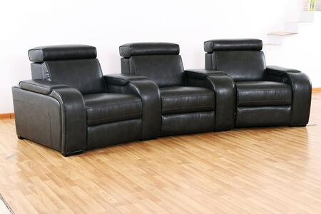 Meadows Collection 3 Seat Recliner Theater Set with Storage Consoles  Sinuous Seat Spring  Grade Deluxe Foam Cushions  Wood Frame and Leather Air