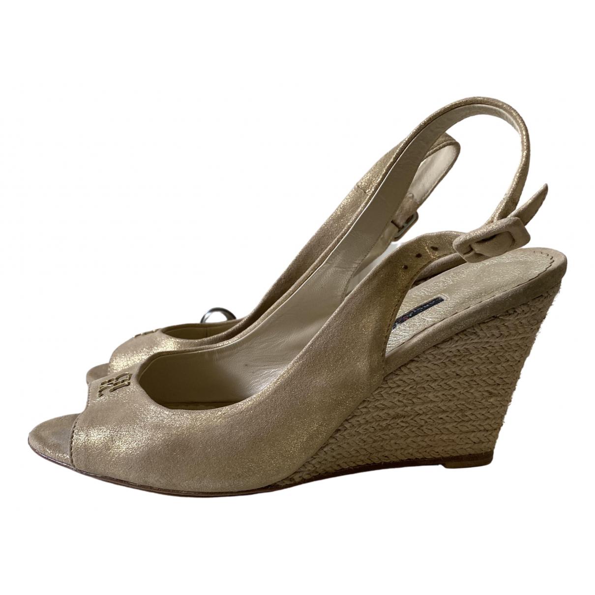 Carolina Herrera - Sandales   pour femme en cuir - dore