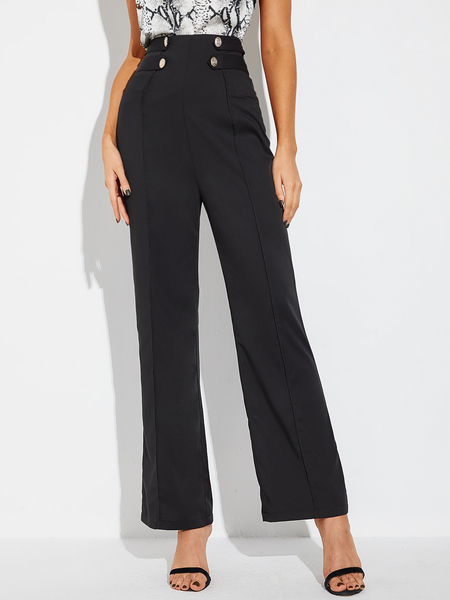 Yoins Black Button Front High-Waisted Pants