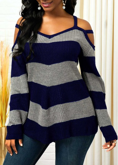Women'S Navy Blue Cold Shoulder Striped Asymmetric Hem Sweater Long Sleeve Strappy Tunic Casual Top By Rosewe - XXL