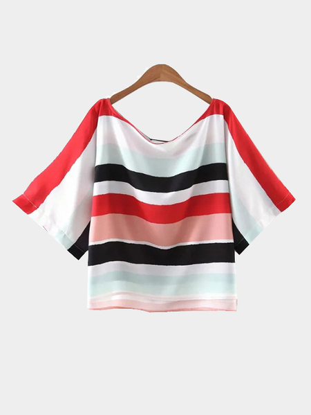 Yoins Multicolor Stripe Short Sleeve Loose T-shirt