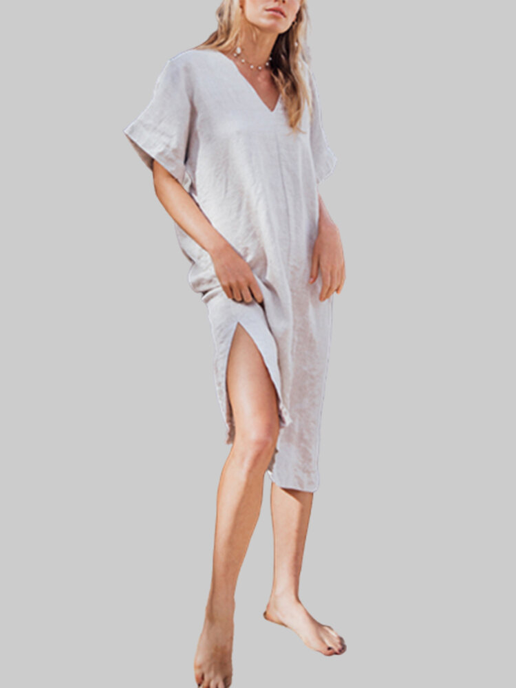 Split Solid Color V-neck Plus Size Dress