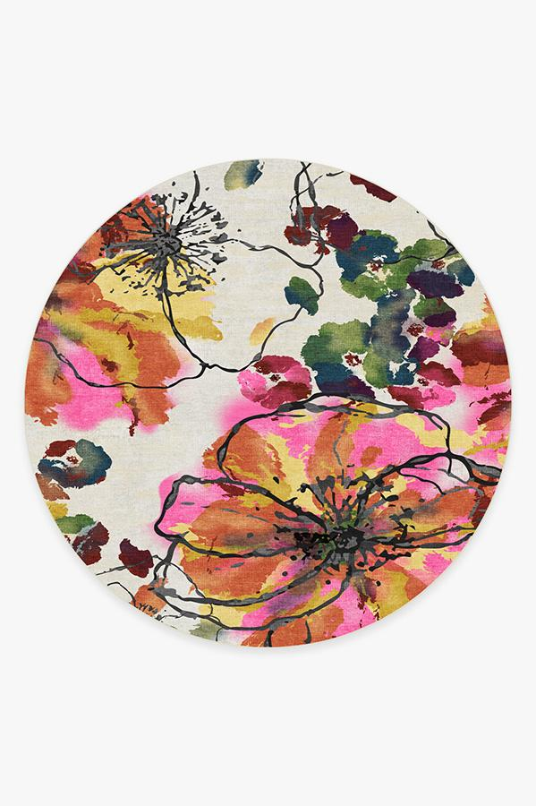 Washable Rug Cover & Pad | Watercolor Floral Multicolor Rug | Stain-Resistant | Ruggable | 8' Round
