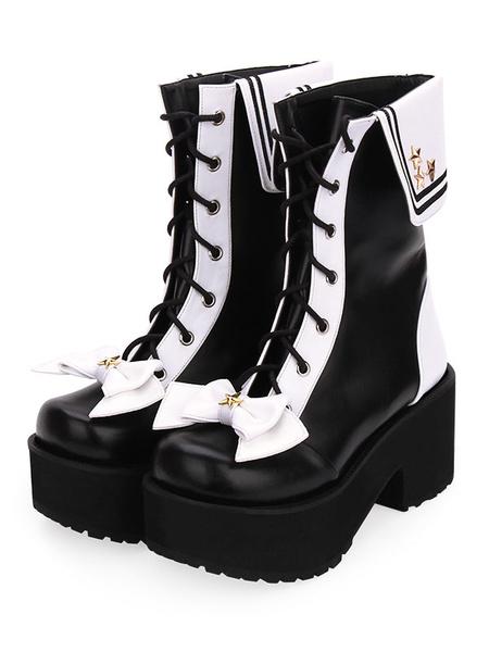Milanoo Classic Lolita Boots Lace Up Bow Two Tone Platform Black Lolita Shoes