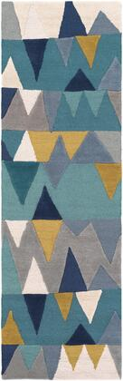 Kennedy KDY-3012 4' x 6' Rectangle Modern Rug in Bright Blue  Aqua  Wheat  Navy  Medium Gray