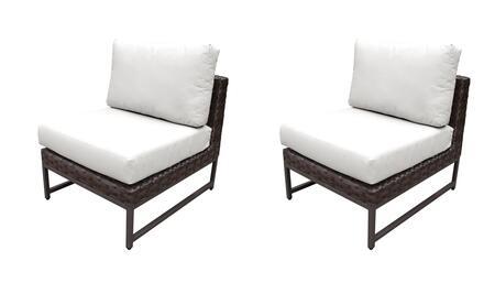 TKC049b-AS-DB-BRN-WHITE Barcelona Armless Chair 2 Per Box - Beige and Sail White