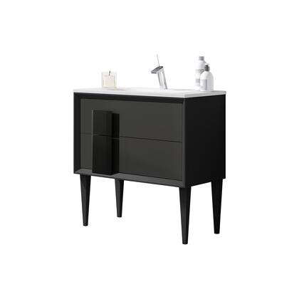 Decor Cristal Collection 43131 40 Vanity with 2 Soft Closing Drawers  Ceramic Sink  Interior Orgnizer  Glass Handle and Water-Resistant Engineered