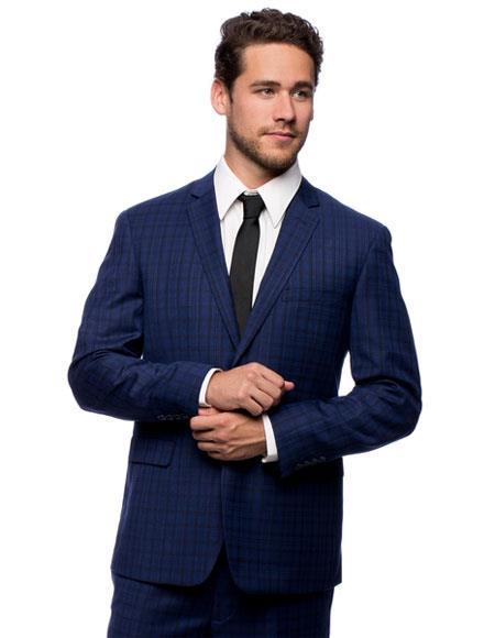 Men's Single Breasted Slim Fit Blue 2 Button Notch Lapel Plaid Suit