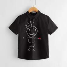 Boys Cartoon Print Shirt
