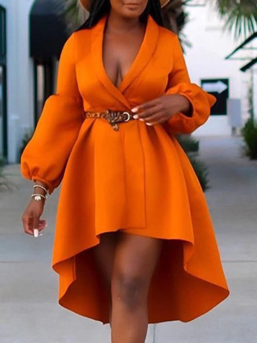 LW Lovely Trendy Puffed Sleeve Loose Asymmetrical Orange Knee Length Dress(Without Belt