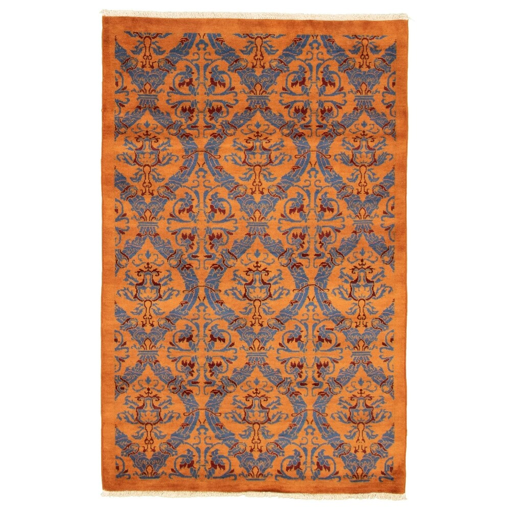 ECARPETGALLERY  Hand-knotted Pak Finest Transitional Orange Wool Rug - 4'0 x 5'11 (4'0 x 5'11 - Burnt Orange)