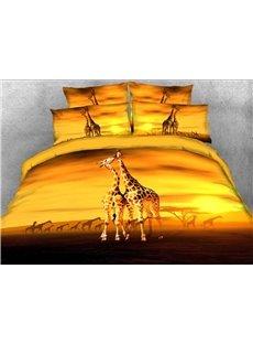 Giraffe Kiss African Scenery 3D 4-Piece Bedding Sets/Duvet Covers