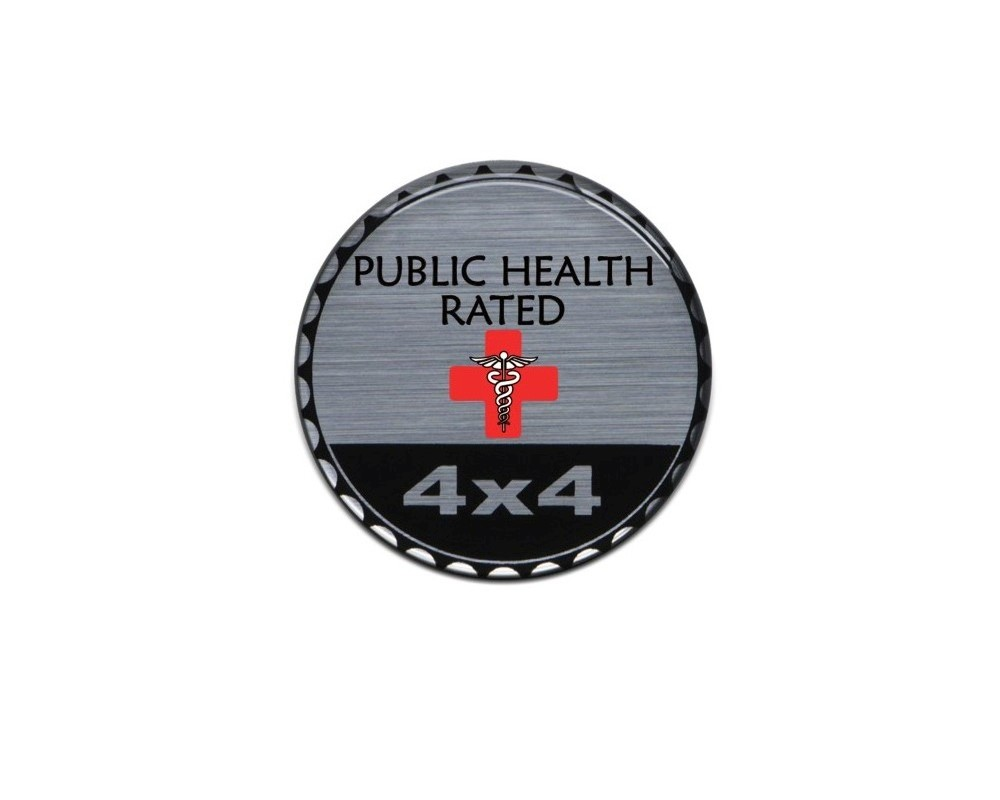 Tufskinz JEX059-DUM-396-G Rated Badge Fits Jeep 1 Piece Kit In Brushed Silver(Public Health Rated)
