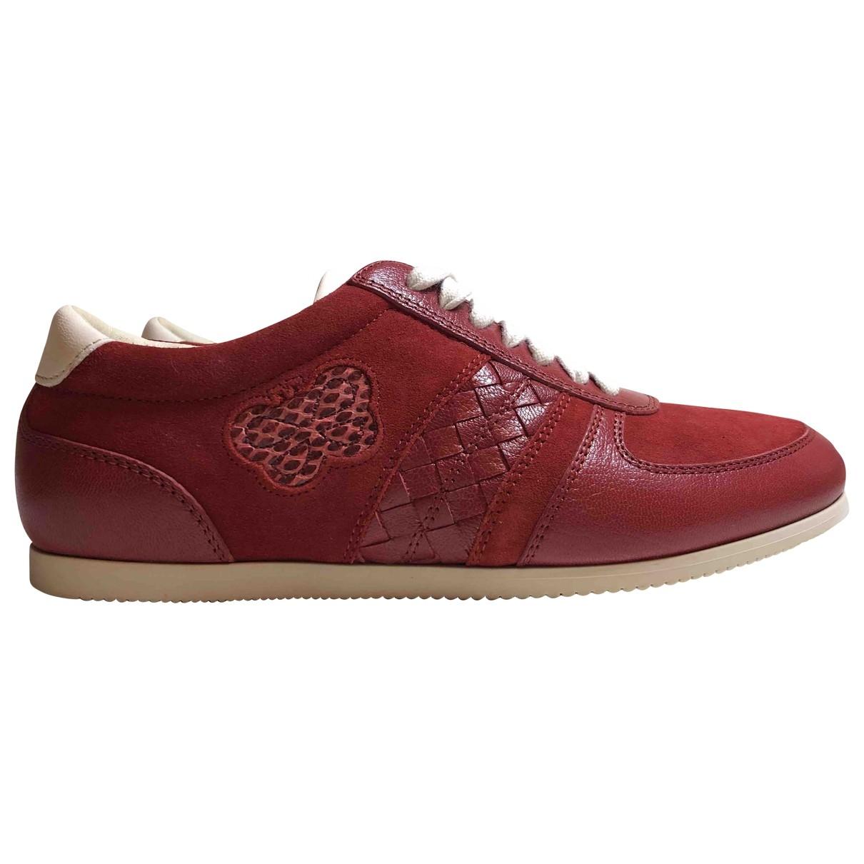Bottega Veneta - Baskets   pour femme en cuir - rouge