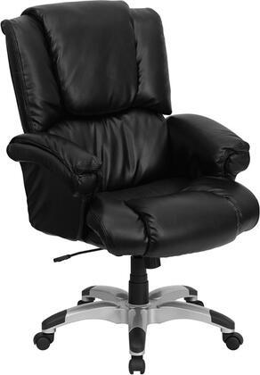 GO-958-BK-GG High Back Black Leather OverStuffed Executive Office
