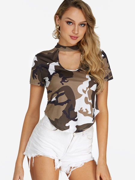 Yoins Green Cut Out Camouflage Pattern Crop Top