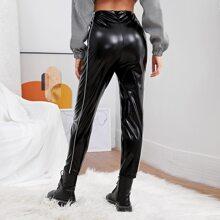 Zip Back Side Stripe PU Leather Pants