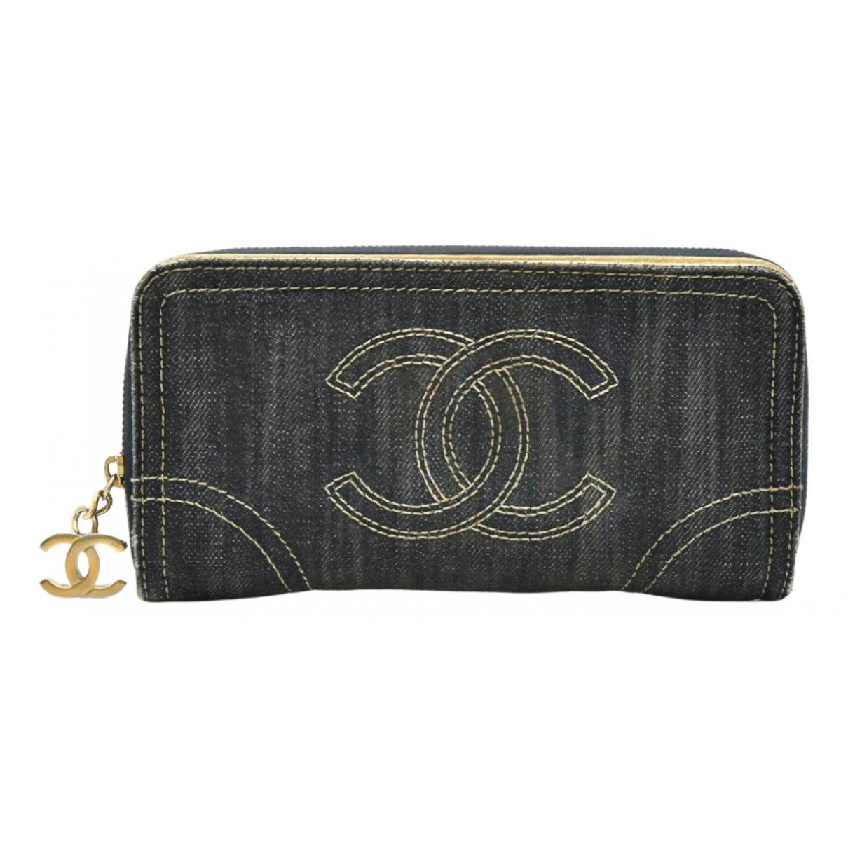 Chanel - Portefeuille   pour femme en denim - bleu