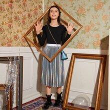 Girls Ruffle Detail Rib-knit Top & Hologram Pleated Skirt Set