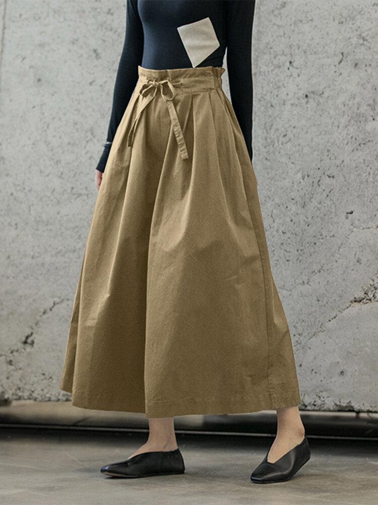 Wide-leg Bowknot Belt A-line Causal Plus Size Pants