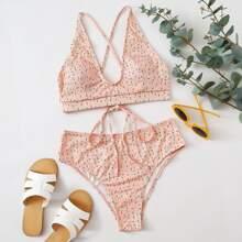 Ditsy Floral Rib High Waisted Bikini Swimsuit