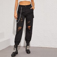 Flap Pocket Side Ripped Cargo Jeans With Chain