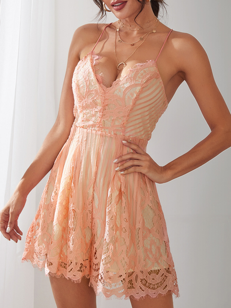 Yoins Sexy V Neck Lace-up Back Strappy Lace Playsuit in Pink