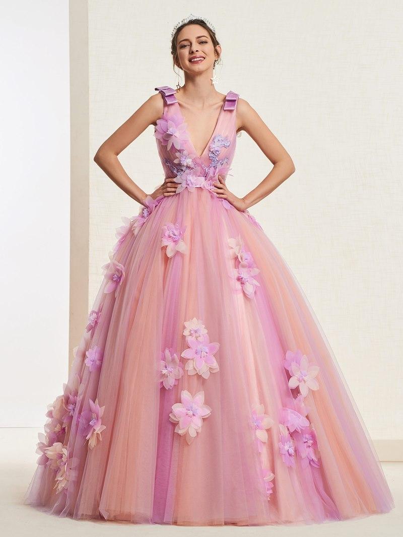 Ericdress V-Neck Ball Gown Quinceanera Dress
