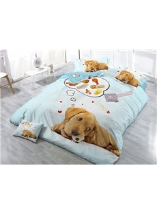 Creative Dog Thinking Lunch Food Wear-resistant Breathable High Quality 60s Cotton 4-Piece 3D Bedding Sets