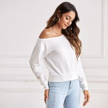 Asymmetrical Neck Solid Pullover