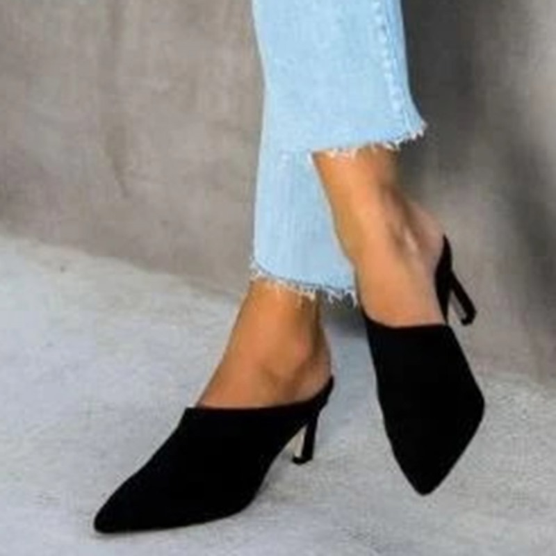 Ericdress Chunky Heel Closed Toe Slip-On Color Block Slippers