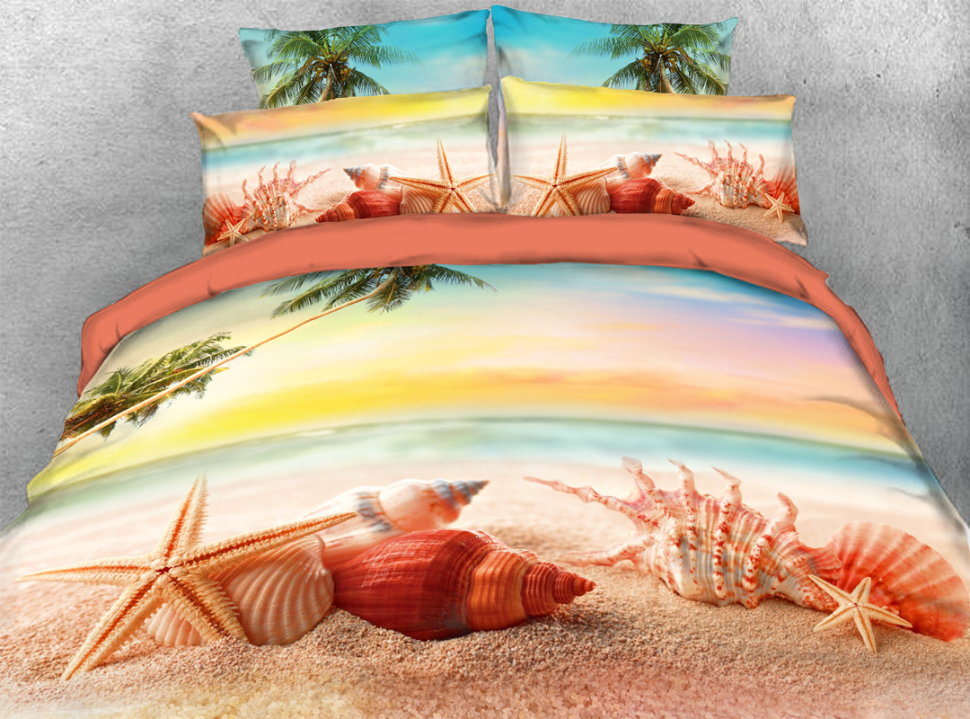 3D Starfish and Shells 4-piece No-fading Soft Bedding Sets Durable Scenery Zipper Duvet Cover with Non-slip Ties