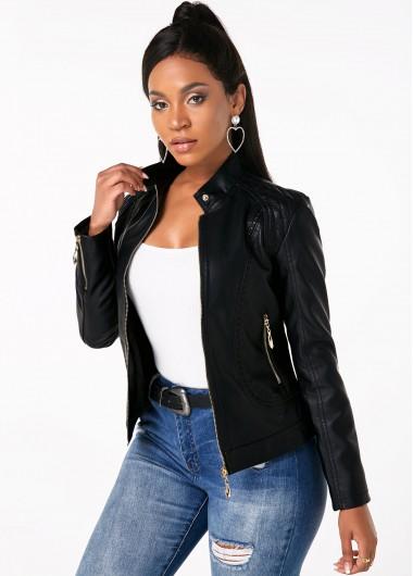 Long Sleeve Stand Collar Zipper Closure Jacket - XL