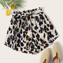 Shorts mit Guertel, Leopard Muster und Papiertaschen