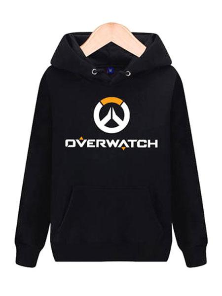 Milanoo Overwatch OW Logo Black Cotton Blend Hoodie Blizzard Video Game Hoodie Halloween