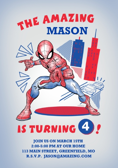 Kids Birthday Party 5x7 Cards, Premium Cardstock 120lb with Scalloped Corners, Card & Stationery -Amazing Birthday Kid Spider-Man Invitation by Hallma