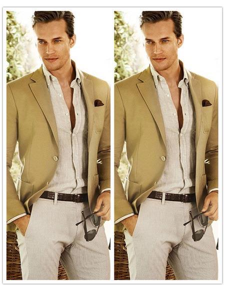 Mens Beach Wedding Attire Suit Menswear Camel 199