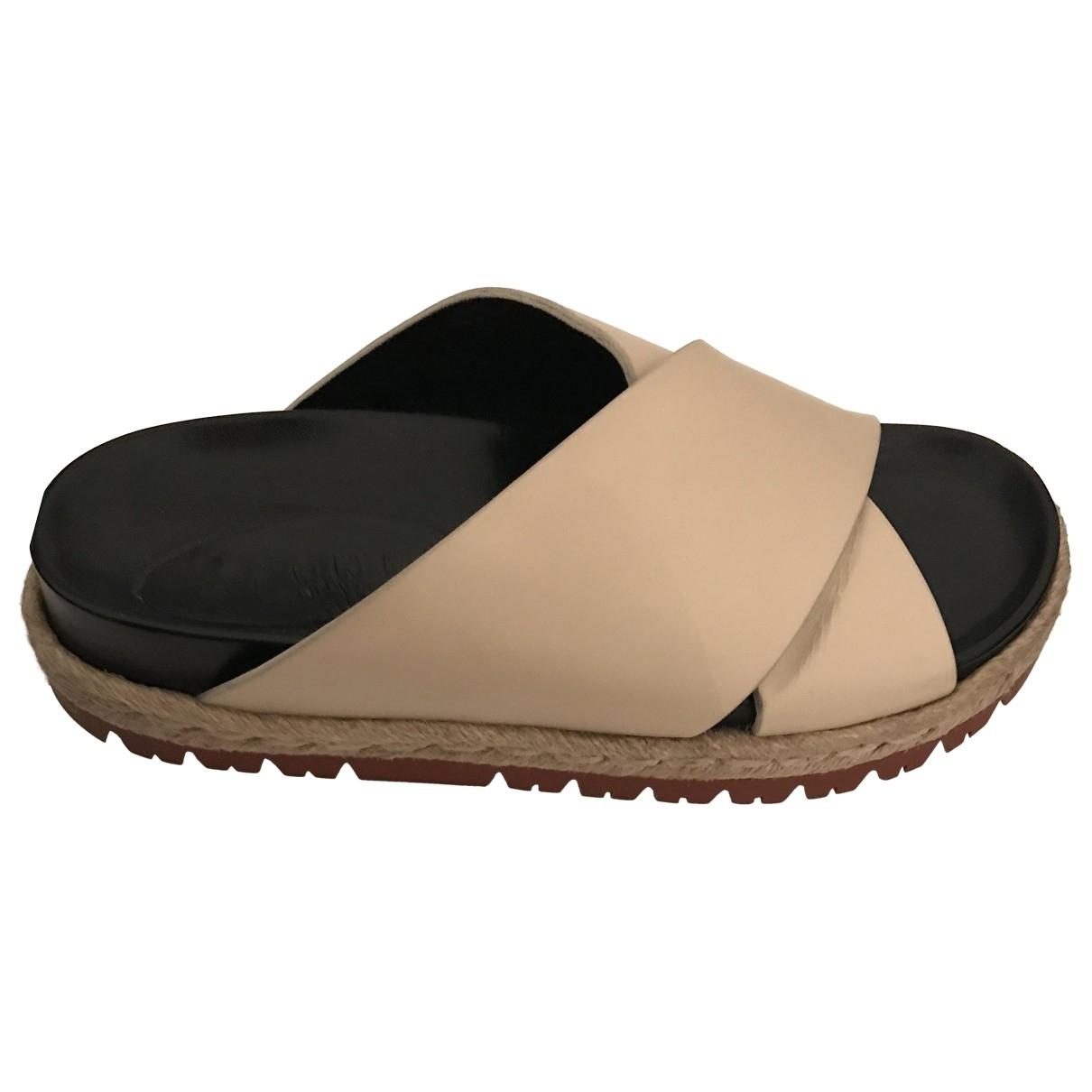 Marni - Sandales   pour femme en cuir - beige