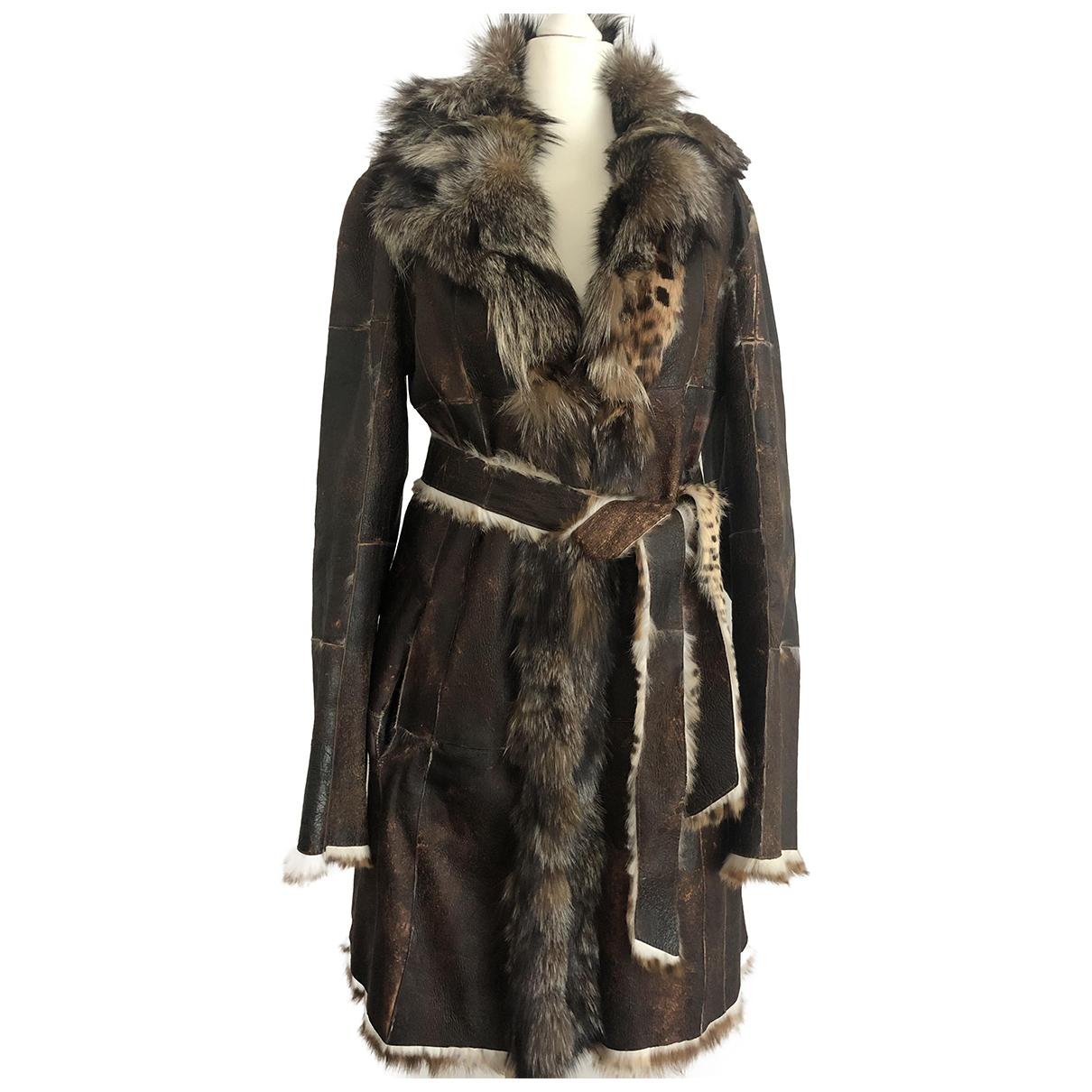 Thes & Thes - Manteau   pour femme en lapin - marron