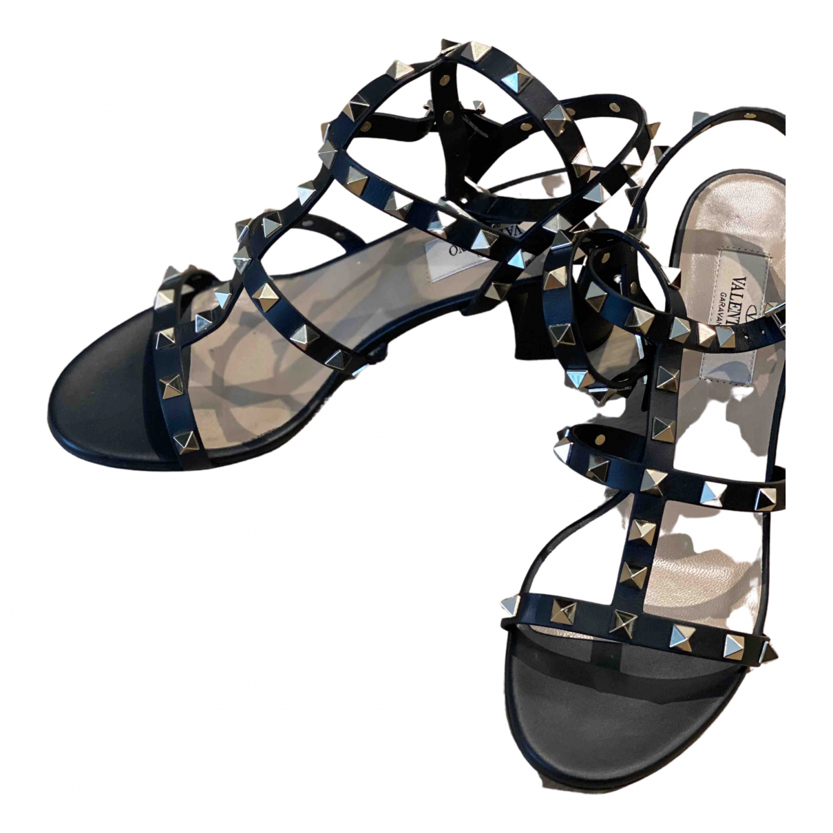 Valentino Garavani Rockstud Black Leather Sandals for Women 37 EU