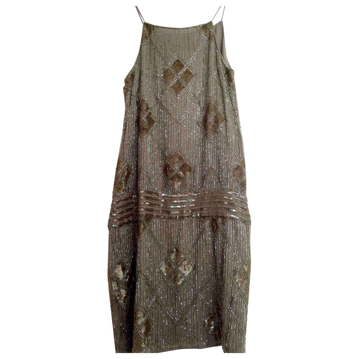 Massimo Dutti \N Kleid in  Khaki Mit Pailletten