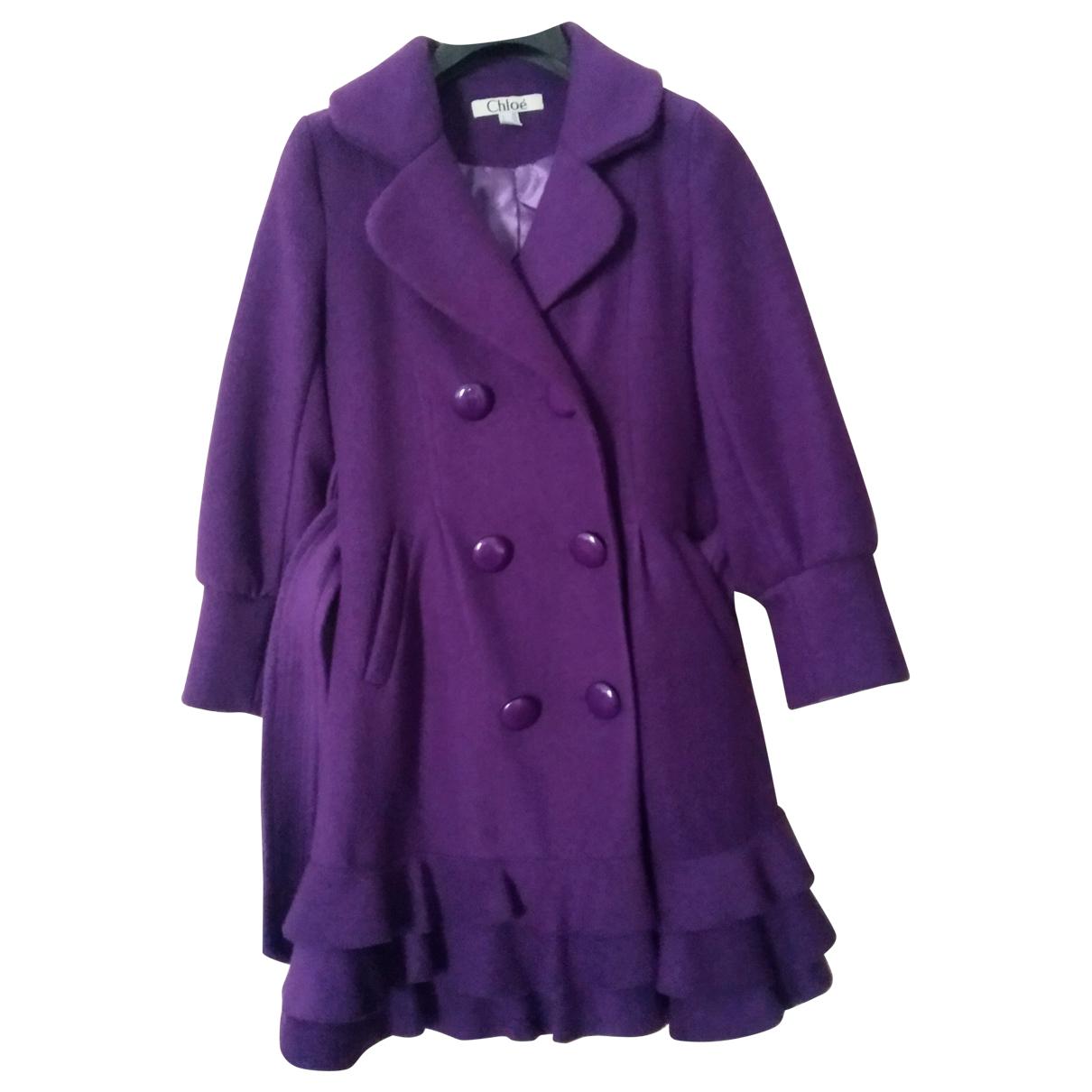 Chloe - Manteau   pour femme en laine - violet