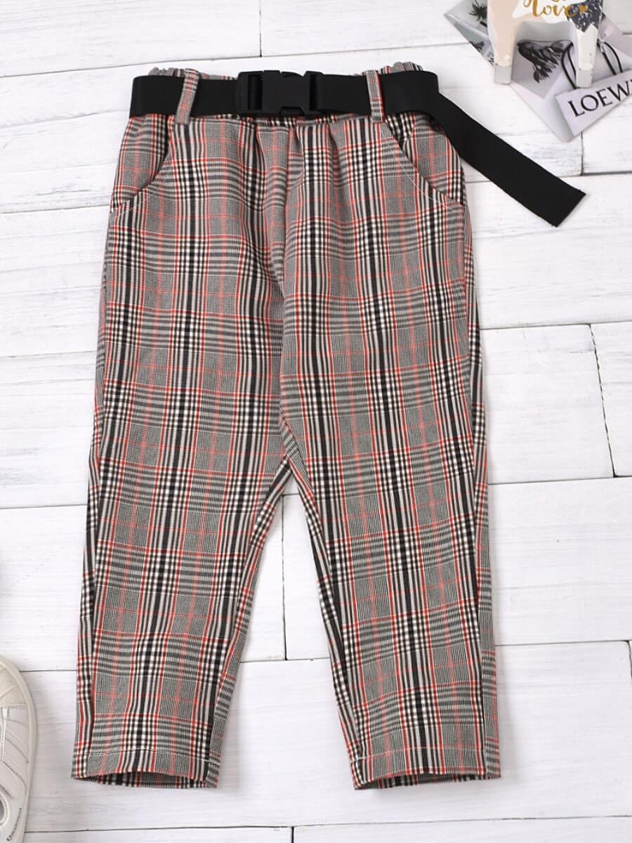 LW Lovely Stylish Grid Print Brown Girl Pants
