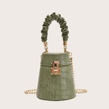 Mini Ruched Handle Croc Embossed Bucket Bag