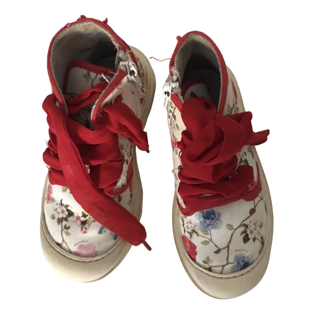 Simonetta - A lacets   pour enfant en toile - blanc