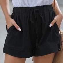 Pocket Side Drawstring Waist Shorts