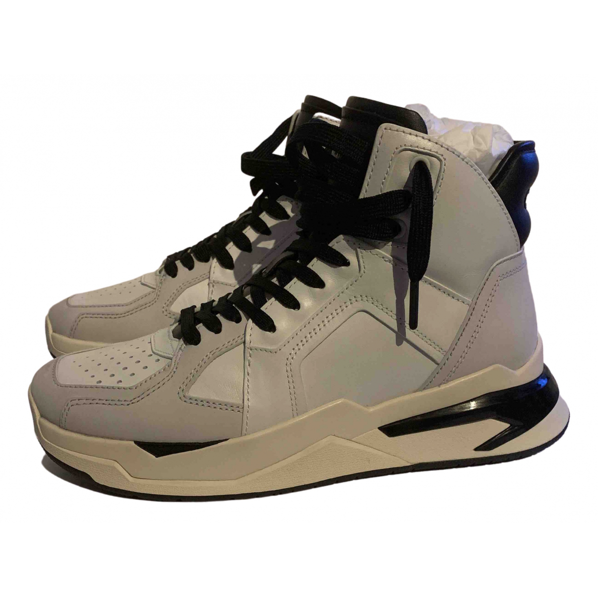 Balmain \N Sneakers in  Weiss Leder