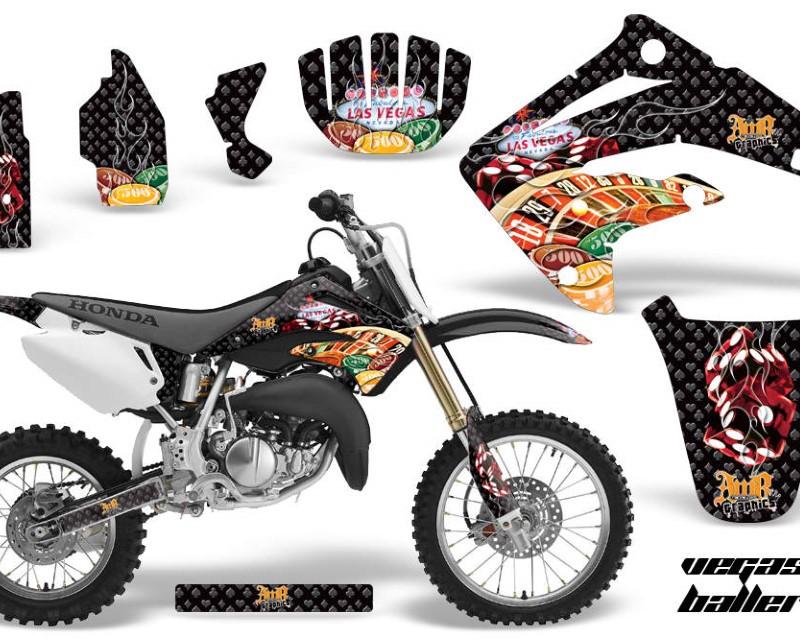 AMR Racing Dirt Bike Graphics Kit MX Decal Wrap For Honda CR85 CR 85 2003-2007 VEGAS BLACK