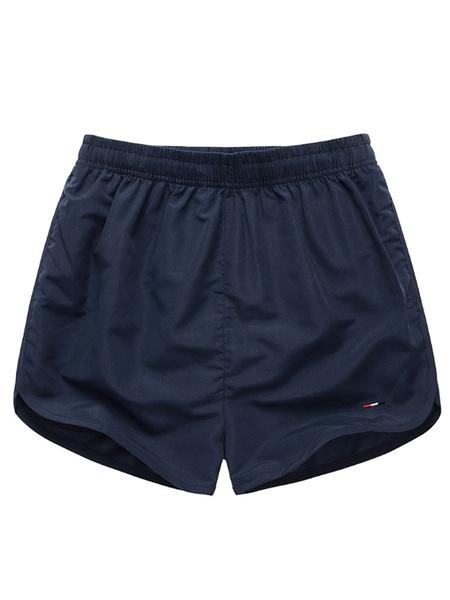 Milanoo Men's Swim Shorts Royal Blue Elastic Waist Summer Beach Swim Trunks